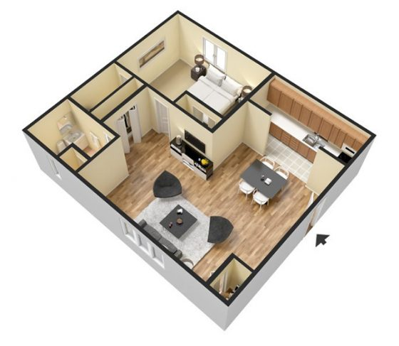 1 Bedroom 1 Bathroom. 750 sq. ft. 3D Furnished